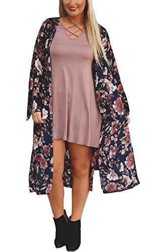 Hibluco Damen Florale Kimono Cardigan Strand Chiffon Bluse Tops Bikini Cover Up (X-Large, K12)