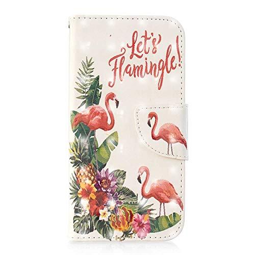 Bear Village Xiaomi Redmi Note 5A Hülle, 3D Glitter Surface Leder Cover Brieftasche Schutzhülle mit Kartenfächern & Ständer Funktion für Xiaomi Redmi Note 5A (#1 Flamingo)