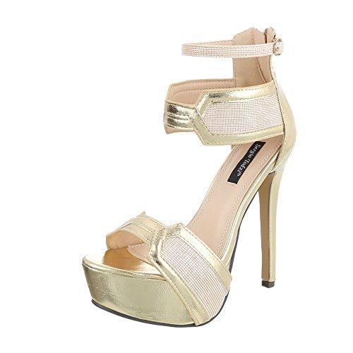 Ital-design - Chaussures Plateforme Femme Gold