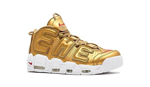 Air More Uptempo Supreme Metallic Gold White Scarpe da