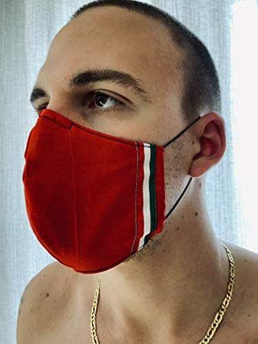 Mascherina Unisex Lavabile 100% cotone rosso con striscia tricolore