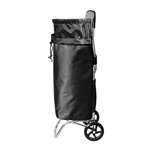 Einkaufstrolleys Leichte Aluminiumlegierung-Einkaufslaufkatze-Treppe, die faltenden Wagen klettert 2 PU-Lager-Rad-zusammenklappbare Ziehwagen Gepäck-Beutel-Wagen Kapazität 55L im Schwarzen