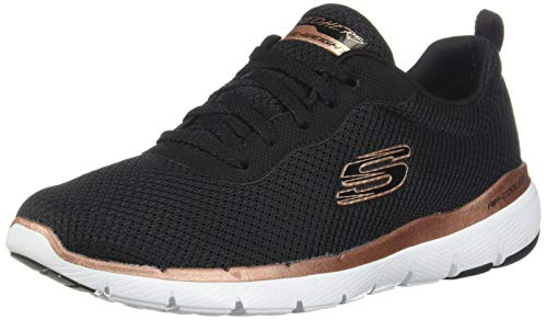 Skechers Flex Appeal 3.0-First Insight, Scarpe da Ginnastica Donna, Nero (Black Mesh/Rose Gold Trim Bkrg), 37 EU