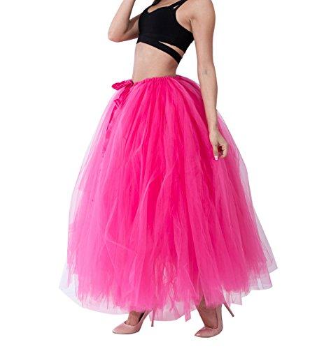 Donna gonne lunghe tulle Principessa Balletto Bubble Puffy Tutu Petticoat Skirt Sottogonna Rose