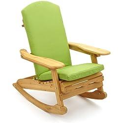 Trueshopping Adirondack - Silla mecedora (madera natural, para exterior o interior, cojín incluido), color marrón y verde