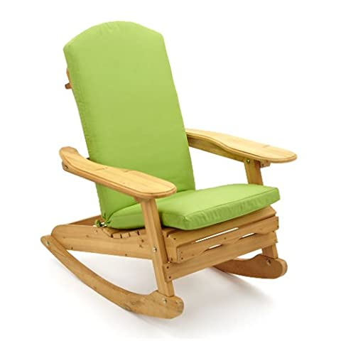 Trueshopping Adirondack Bowland Garden / Patio Rocking Chair with Luxury Cushion in Lime (Outdoor Glider Cuscini)