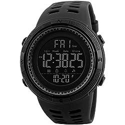 Reloj Deportivo Digital de Moda para Hombre, Resistente al Agua, Militar, cronómetro, Cuenta atrás, fácil de Leer, 1 Unidad, Color Negro