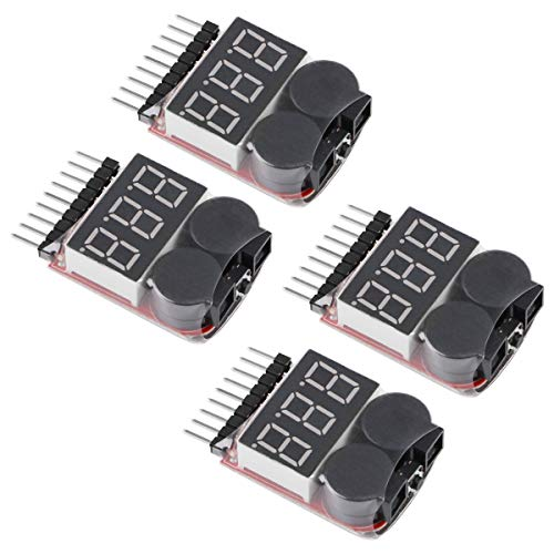 4pcs 1S-8S Lipo Batterie Tester, RC Lipo Batterie Niederspannungsalarm Summer Anzeige Checker mit LED für Lipo, Li-Ion, LiMn, Li-Fe Batterie