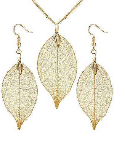 Milacoalto Real Natural Filigrane Blatt Ohrringe Lange Anhänger Halskette Gold Silber Überzogene Trendy Modeschmuck