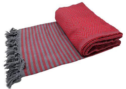 bella casa KELIM LUX Tagesdecke Bettüberwurf Überwurf Plaid Baumwolle 205x260 cm (Rot)