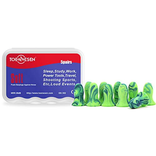 TOENNESEN Ohrstöpsel Gehörschutzstöpsel NNR33dB Gehörschutz Schaumstoff Ohrenstöpsel