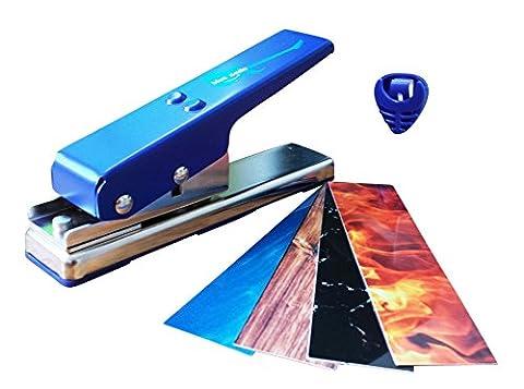 Blue Smile Gitarren Plektrum Stanzmaschine mit BONUS - Individuelle Plektren - Perfektes Geschenk Für Gitarristen Und Musiker, Blau / Silber
