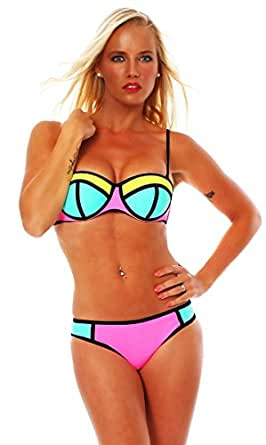 10600 Fashion4Young Sexy Damen Triangle Bikini Sets Badeanzug Triangle Bademode Push Up (XS=34 Cup A, Neongelb Türkis)