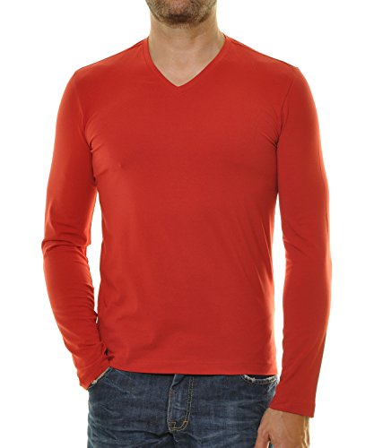 RAGMAN Herren Langarm Shirt mit V-Ausschnitt, Body Fit Chilli-066