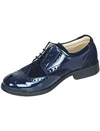 Niño Nuevo Ante Azul Marino & Charol Zapatos Oxford De Vestir
