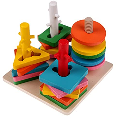 Vultera (TM) del capretto del bambino colonna di legno Forme Stacking Building Blocks educativo prescolare (Stacking Legno)
