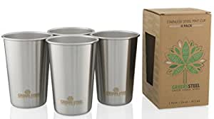 Greens Steel New Premium Stainless Steel Pint Cup (Limited Edition 4 Pack) 16oz/ 473ml Premium Stackable Tumbler Metal Drinking Glasses Cups