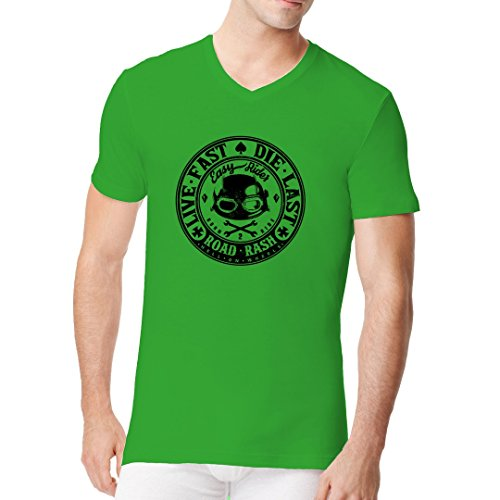 Biker Männer V-Neck Shirt - Live Fast Biker by Im-Shirt Kelly Green