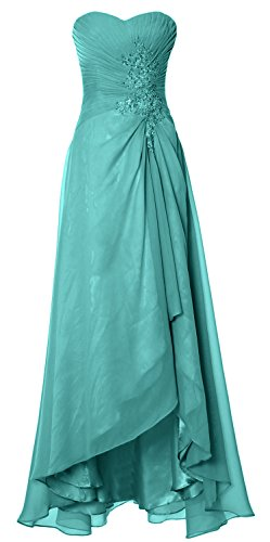Turquoise Strapless Dress (MACloth Elegant Hi Lo Simple Prom Dress Strapless Wedding Party Formal Gown (Custom Size, Turquoise))