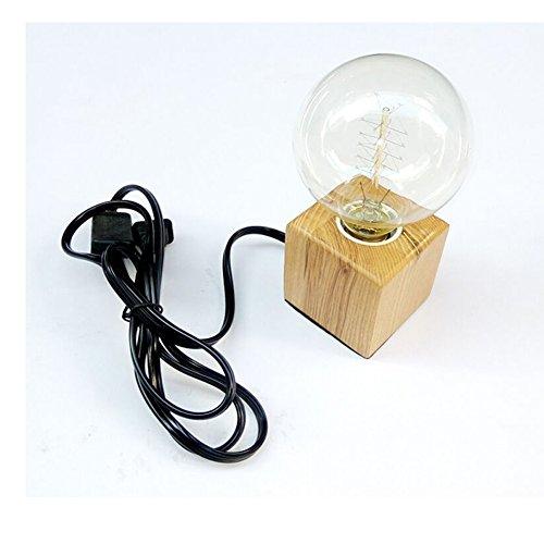 Schreibtischlampe Dimmbar Quadratform/Diamantform aus Holz 220V E27 für Schlafzimmer Büro (Keine Glühbirne) (A) -