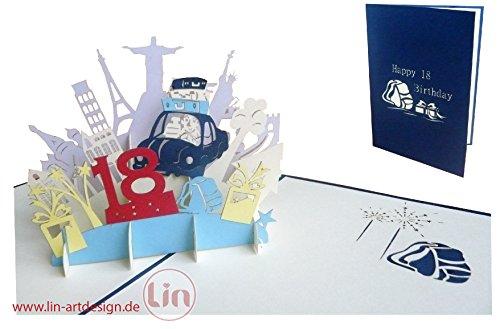 LIN POP UP 3D Glückwunschkarte Geburtstagskarte, 18. Geburtstag 18 party, Junge, blau #16 #
