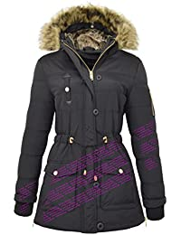 NEW PADDED Womens HOODED WINTER COAT Ladies Jacket Size 8-16 Parka Fur military PUFFER