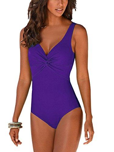 c9603129d253 Summer Mae Costume da Bagno Intero Push Up per Donna Porpora S IT40