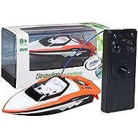 Ocamo Juguetes acuáticos, bote a control remoto,Portable Micro RC Racing Boat Control remoto Lancha rápida