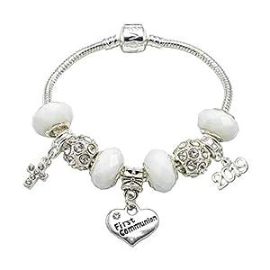 Charm-Armband zur Erstkommunion, versilbert, für Mädchen, mit Geschenk-Box