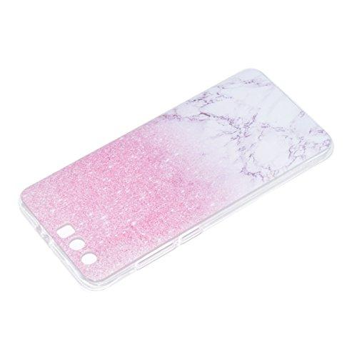 Hülle für Honor 9, Case Cover für Honor 9 [Scratch-Resistant] , ISAKEN Ultra Slim Perfect Fit Malerei Muster Weiche TPU Silikon Durchsichtig Transparent Protective Rückseite Back Case Cover Tasche Sch Pink Marmor