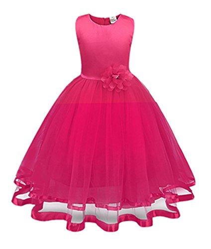 tyi Mädchen Kleider High-End-Kleid einfarbig Blumen lange Prinzessin Kleid Blumenmädchen Prinzessin Kleid Festzug Tüll Kleid Party Brautkleid (Rose Rot, 3T/110CM) (Kleider Auf Verkauf Für Kinder)