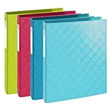 Exacompta 1928 Plastic Coated A4 Ring Binder 4 Rings 40 mm Spine Assorted Colours Pack 4