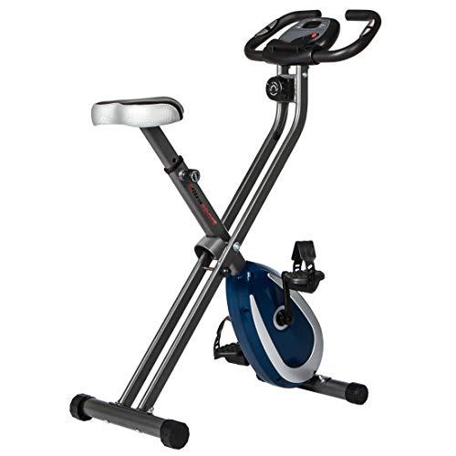 Ultrasport F-Bike 250 Fahrradtrainer mit Trainingscomputer und App, Handpulssensoren, faltbar, dunkelgrau/navy