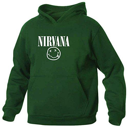 Art T-shirt, Felpa Con Cappuccio Nirvana Smile, Uomo, Verde Bottiglia, M