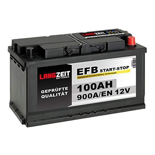 LANGZEIT Autobatterie EFB Batterie Start-Stop Starterbatterie (100Ah 12V)