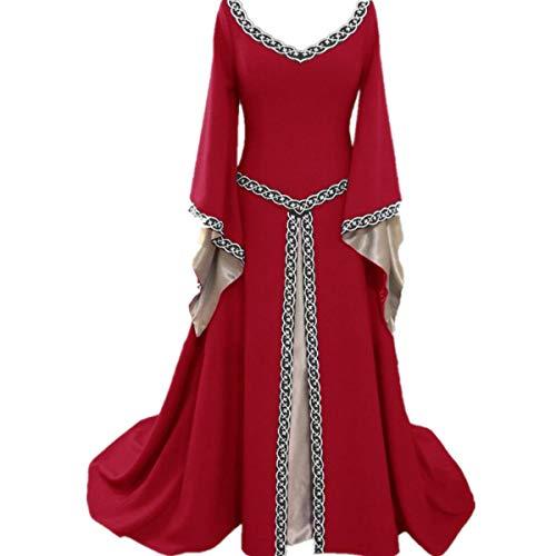 LCXYYY Damen Gothic Mittelalter Kleider Vintage Gothic Victorian Kleid Kostüm Cosplay Verkleidung Damen Kleid Maxikleid Retro Kleid Rundhalskleider Halloween Kostüm Langarm Renaissance ()