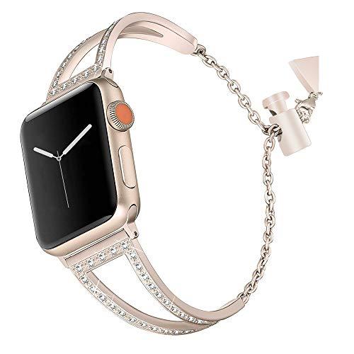 Für Apple Watch Armband 38 mm Damen Gold Glitzer,Armband Apple Watch Series 3 Edelstahl Uhrenarmband iWatch 38 Ersatzband Smartwatch Sport Straps Watch Band für Apple Watch 38mm Series 3/2 / 1
