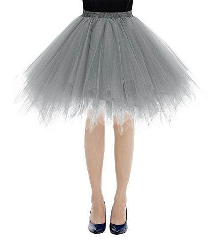 Bbonlinedress Kurz Retro Petticoat Rock Ballett Blase 50er Tutu Unterrock Grey S