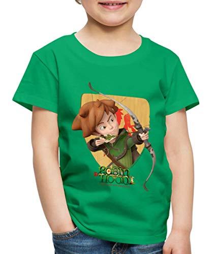 Spreadshirt Robin Hood Schießt Mit Seinem Bogen Kinder Premium T-Shirt, 110/116 (4 Jahre), Kelly Green