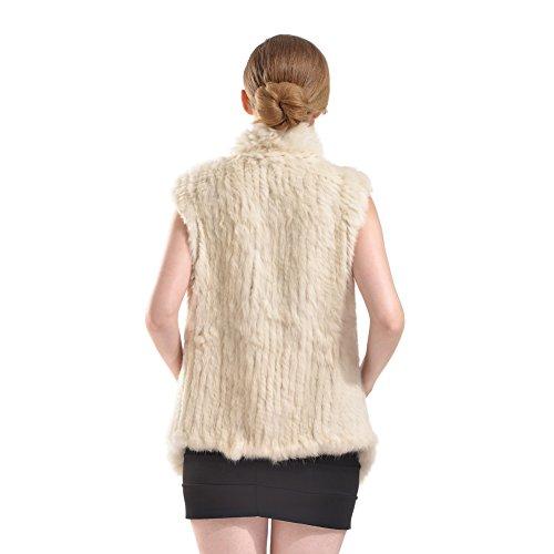 Pelliccia di pelliccia del coniglio - Gilet di inverno di inverno delle donne Real Gilet di pelliccia a maglia con la tasca Beige