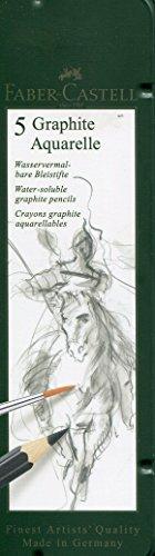 Faber-Castell 117805-5 Aquarellbleistifte Graphite Aquarelle, Inhalt HB, 2B, 4B, 6B, 8B