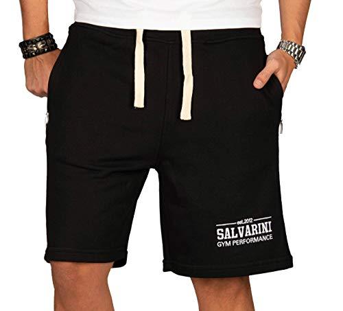 A. Salvarini Herren Sport Jogging Short Fitness Kurze Hose Trainingshose AS130 [AS-130-Schwarz-Gr.XXL] - Schwarze Sweat