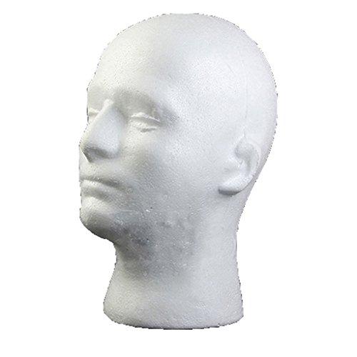 (beiguoxia männlich Perücken Display Übungskopf Ständer Modell HTC VR Headsets Halterung Styropor Schaumstoff weiß)