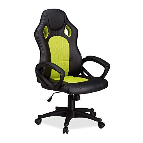 Relaxdays grün Designschwarz Drehstuhlbequemer Gaming mHöhenverstellungRacing XR9Zocker Stuhl Chefsessel 0kOnwP