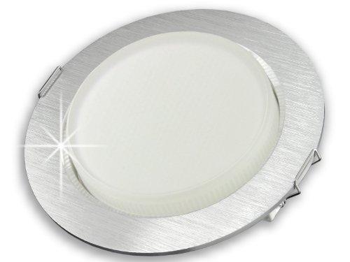 LED Einbau-Strahler flach (25mm) für 230V - SSC-LUXon Einbau-Leuchte RX-3 rund Alu gebürstet mit GX53 5,5W LED-Leuchtmittel warm-weiß