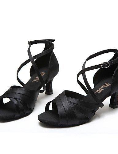ShangYi Chaussures de danse ( Noir ) - Non Personnalisables - Talon Bobine - Cuir / Paillette Brillante -Latine / Jazz / Moderne / Chaussures de Black