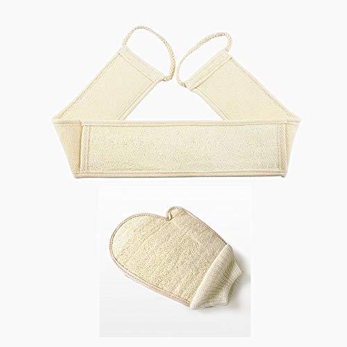 Luffa Peeling Set Zurück Scrubber Peeling Handschuh Massage Luffa Strap für Dusche und Bad (Luffa-Handschuh + Rückenwäscher) -