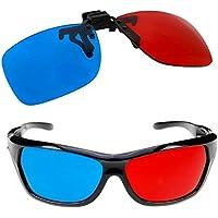 Newin Star Gafa 3D,Gafa Rojo-Azul Estilo de Anaglifo con Clip Gafa 3D para 3D Película Juegos y TV (2 PCS)