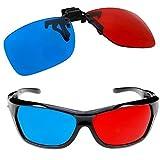 Occhiali rossi e blu per la maggior parte degli occhiali da vista per film 3D, giochi e TV 1x Clip On e 1x stile Anaglifo