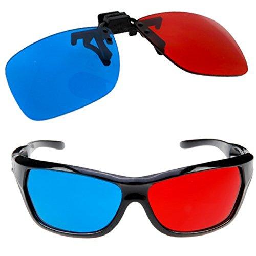 Rote und blaue Brille passt über die meisten Brillen für 3D-Filme, Gaming und TV 1x Clip On & 1x Anaglyph Stil
